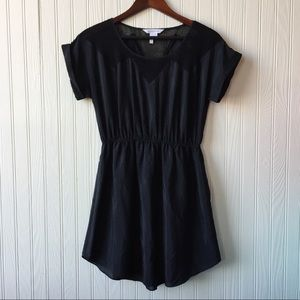 BCBG Generation Black Mesh Short Sleeve Dress S